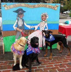 Dogs pose with Colonial cut-out