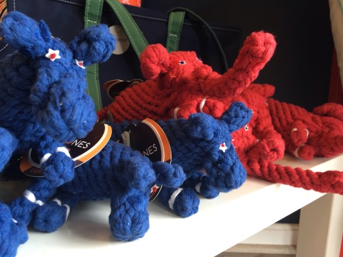 red and blue donkey and elephant dog tug toys